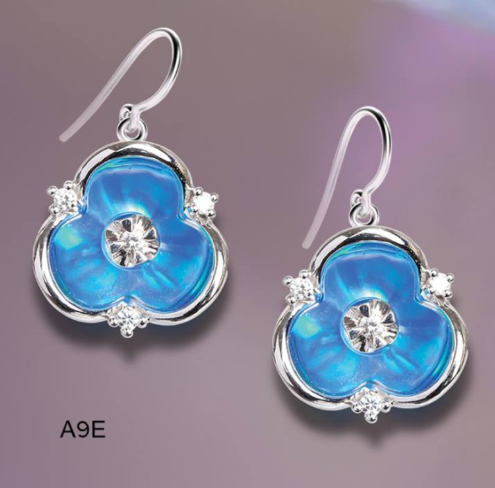 3 point diamond and blue pearl earrings