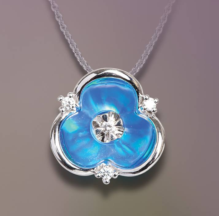 3 point diamond and blue pearl pendant