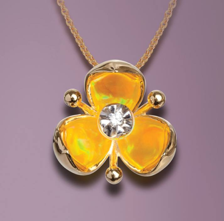 3 point flower with yellow opal pendant