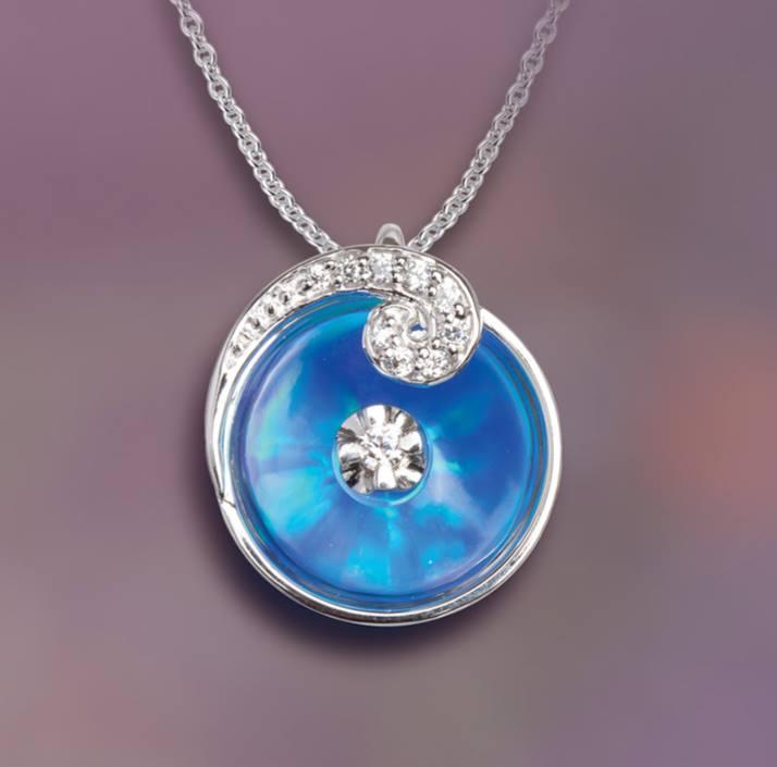 blue opal with swirl pendant